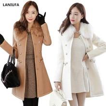 new Long Autumn Winter Coat Women Wool Blends Coats Female J