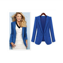 PLUS SIZE blue and black lady long sleeve lady fashion office blazer womens jackets and coats 2015 new design free shipping