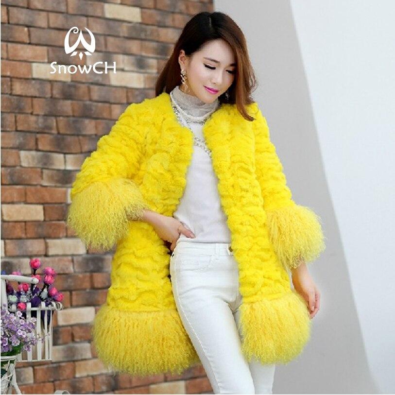 Genuine Rabbit Fur Coat Women Fashion Long Rabbit Fur Jacket With Lamb Fur Hem Winter Fur Coat Free Shipping EMS F587