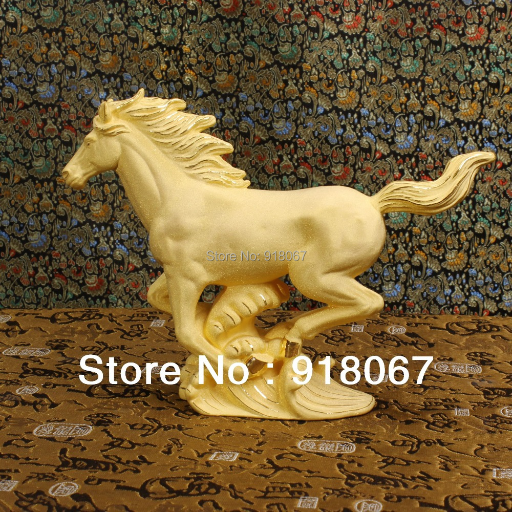 Horse arts and crafts - Yz 1039 Free Shipping Gold Craft 24k Gold Craft Art Gift Cute Chinese 24k Gold Plated Metal Horse Craft For Home Decoration