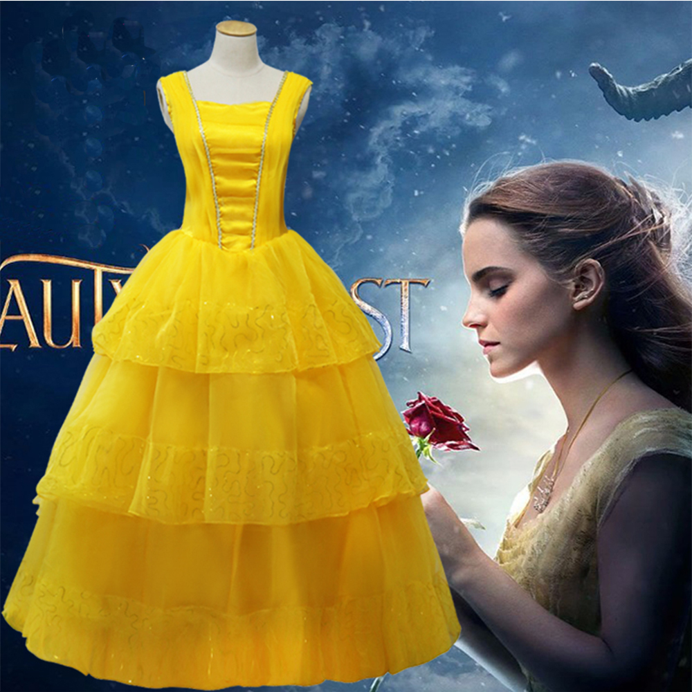 2018 Beauty and the Beast Movie adults Princess Belle cosplay costume yellow fancy weeding dress for women girl image