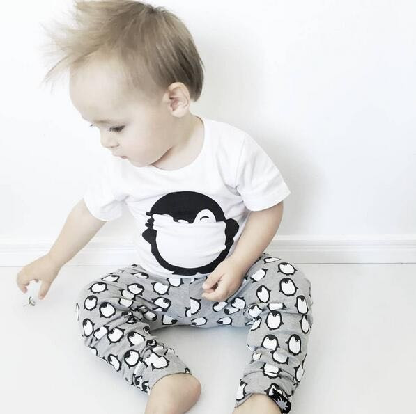 2017 Summer Newborn Baby Boy Clothes Short Sleeve Cotton T-shirt Tops +Pants 3PCS Outfit Toddler Kids Clothing Penguin baby set infant baby boy girl 2pcs clothes set kids short sleeve you serious clark letters romper tops car print pants 2pcs outfit set