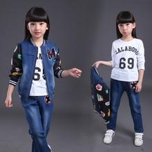 Горячая продажа три пьесы джинсовый жакет брюки и рубашки установить 2016 осень зима одежда для девочек 13 лет Платье для девочки