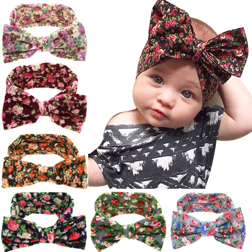 1 Piece MAYA STEPAN Children Girls Print Fowers Bow Rabbit Ears Head Hair Band Baby Newborn Hair Rope Headband Headwear Headwrap