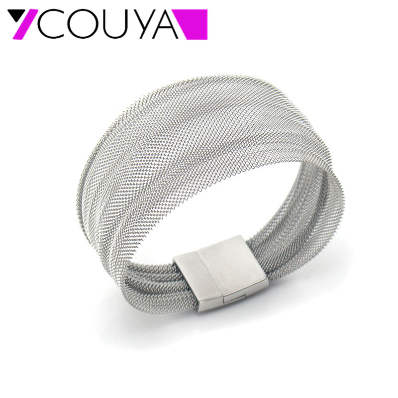 Us 7 35 25 Off Couya 2017 New Fashion Stainless Steel Bangle Wide Silver Mesh Bracelets For Women Casual Jewelry Best Gifts Valentine S Day In