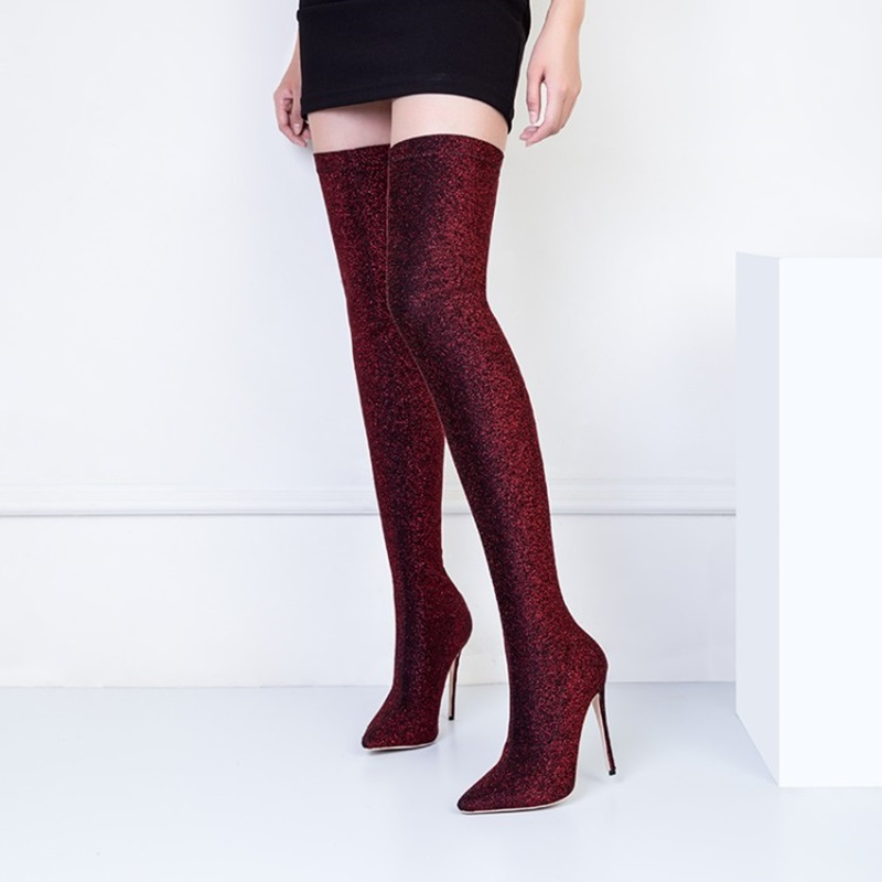 Female Winter Thigh High Boots Stretch Fabric High Heels Women Over The Knee Botas Mujer Shoes Plus Size 34-45 B007 mcckle female winter thigh high boots women faux suede leather high heels over the knee botas mujer plus size shoes pumps 34 43