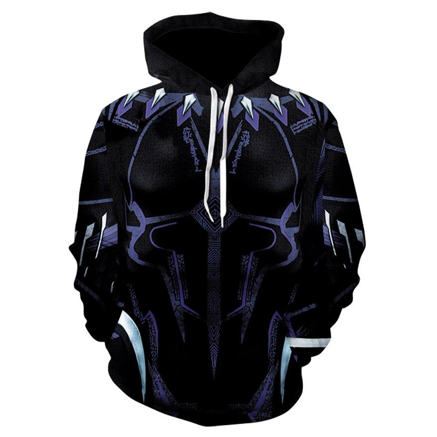 2018 Autumn Winter 3d print Black Panther Avenger Men hoodies Fashion Spiderman Hoodies Streetwear Casual Cospaly Sweatshirt