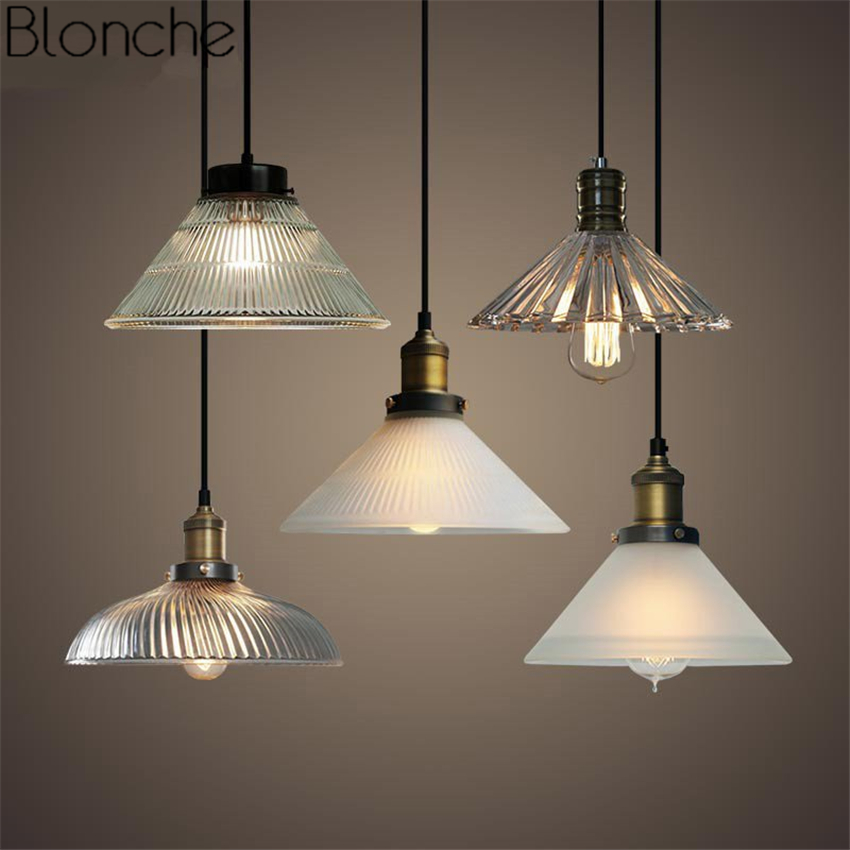 Vintage Glass Pendant Lights Led Loft Hanging Lamp for Bar Industrial Decor Kitchen Home Light Fixtures Suspension Luminaire E27 vintage pendant lights loft industrial retro e27 pendant lamp kitchen bar hanging lamp lighting lustre light fixtures