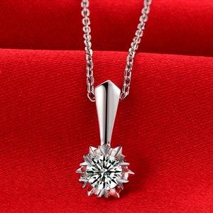 Image 2 - ファッション永遠に 1 石ペンダント純粋な 18 k 固体ホワイトゴールド結婚式の宝石認定 0.3 カラット