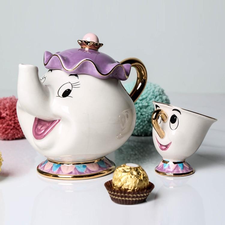 Hot Sale Cartoon Beauty And The Beast Teapot Mug Mrs Potts Chip Tea Pot Cup One Set Nice Christmas Gift Free Shipping serveware