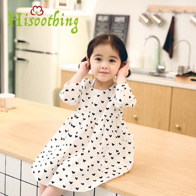 Spring 2018 Girls Dress Korean Children Cute Thin Cotton Princess Dress Long Sleeve Neck Print Love Dress 1-6 years girl dress palm print cami dress