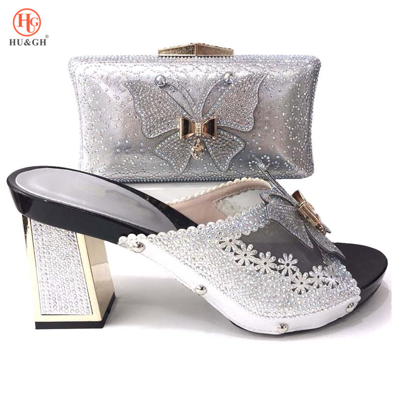 2018 New Black African Women Shoes And Bag Set Italian 2018 Designs Big Size 37 to 44 High Heels Shoes And Bag For Wedding Party