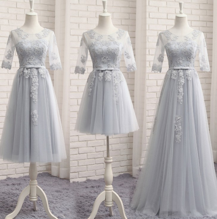 Grey Mini Short   Bridesmaid     Dresses   2019 O-Neck Half Sleeves Tulle Lace Party Gowns CG00289 Girl Bowknot Sash Wedding Guest   Dress