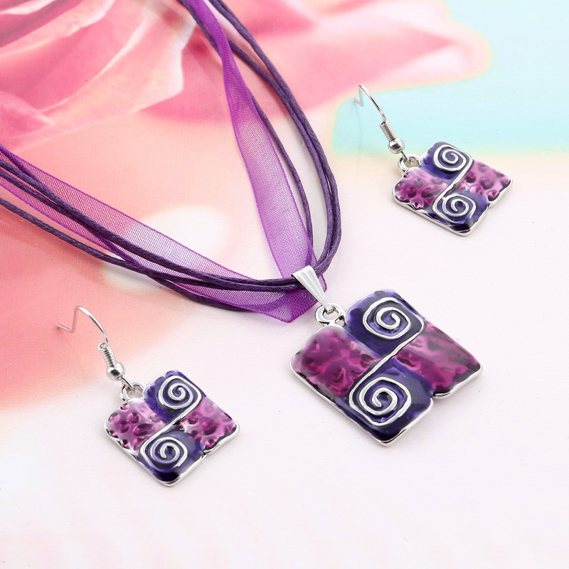 Fashion Jewelry Sets vintage leather rope Ribbon chain Purple Natural Stone Square Geometry Enamel Pendant Necklace Earrings Set
