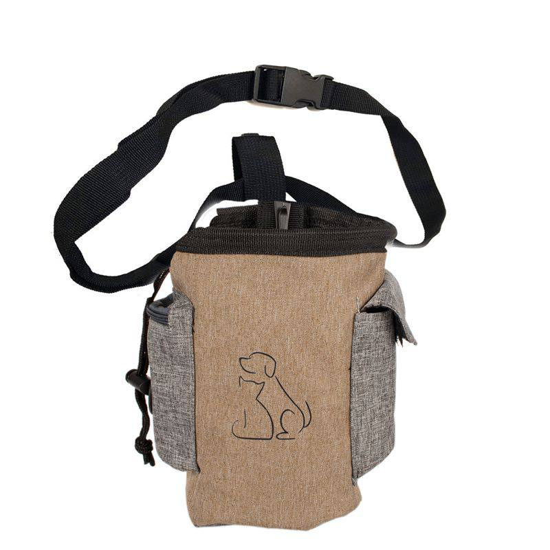 Pet Hands Free Training Waist Bag Dog Feed Pouch Drawstring Carries Lovely Dogs Pattern Dog Treat Waterproof Cloth Bag(China)