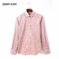 QIHUANG Fashion Women Blouses Cotton Long Sleeve Shirt Floral Printed Turn down Collar Female Shirt 2019 Plus Size Women Tops