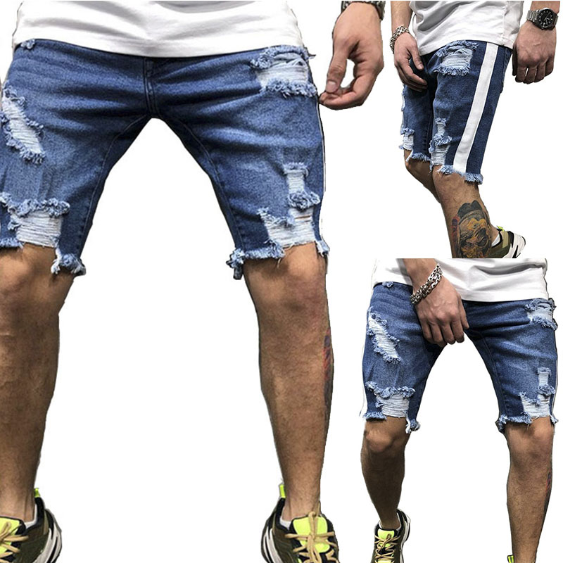 New Fashion Leisure Men Ripped Short Jeans Brand Clothing Summer  Shorts Breathable Jeans Short Pants