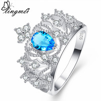 lingmei New Comes Water Drop Design Blue & Purple White CZ Silver Color Ring Size 6 7 8 9  Women Anniversary Jewelry Wholesale