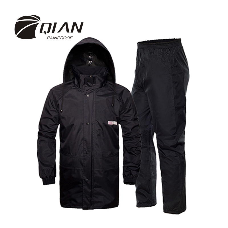 QIAN RAINPROOF Professional Outdoor Raincoat Skjult Rainhat Tykkere Mesh Fodring Sikkerhed Reflekterende Tape Design Super Rainsuit