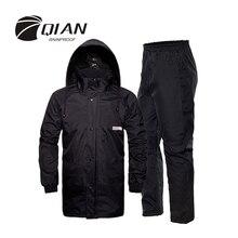 QIAN 비 방수 전문 야외 비옷 숨겨진 Rainhat 두꺼운 메쉬 안감 안전 반사 테이프 디자인 슈퍼 Rainsuit