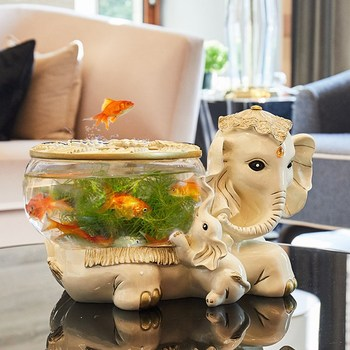 creative resin elephant Fish tank vintage statue home decor crafts room decoration objects resin animal glass Fish tank figurine