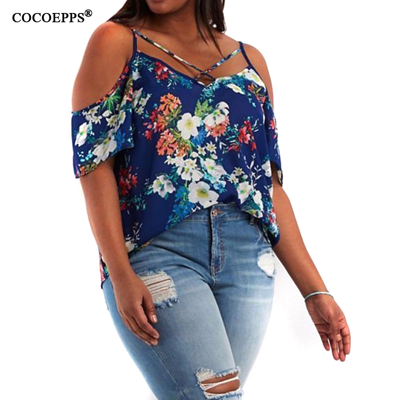 Summer women Plus size floral print new 2017 off shoulder style loose shirt large size 5XL tops camiseta feminina free shipping