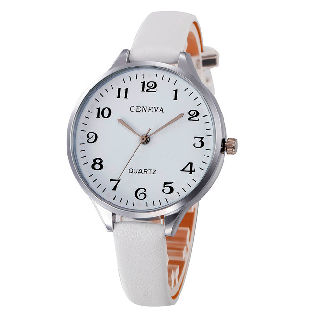 women watches Simple Color White women's watches Faux Leather relogio feminino A
