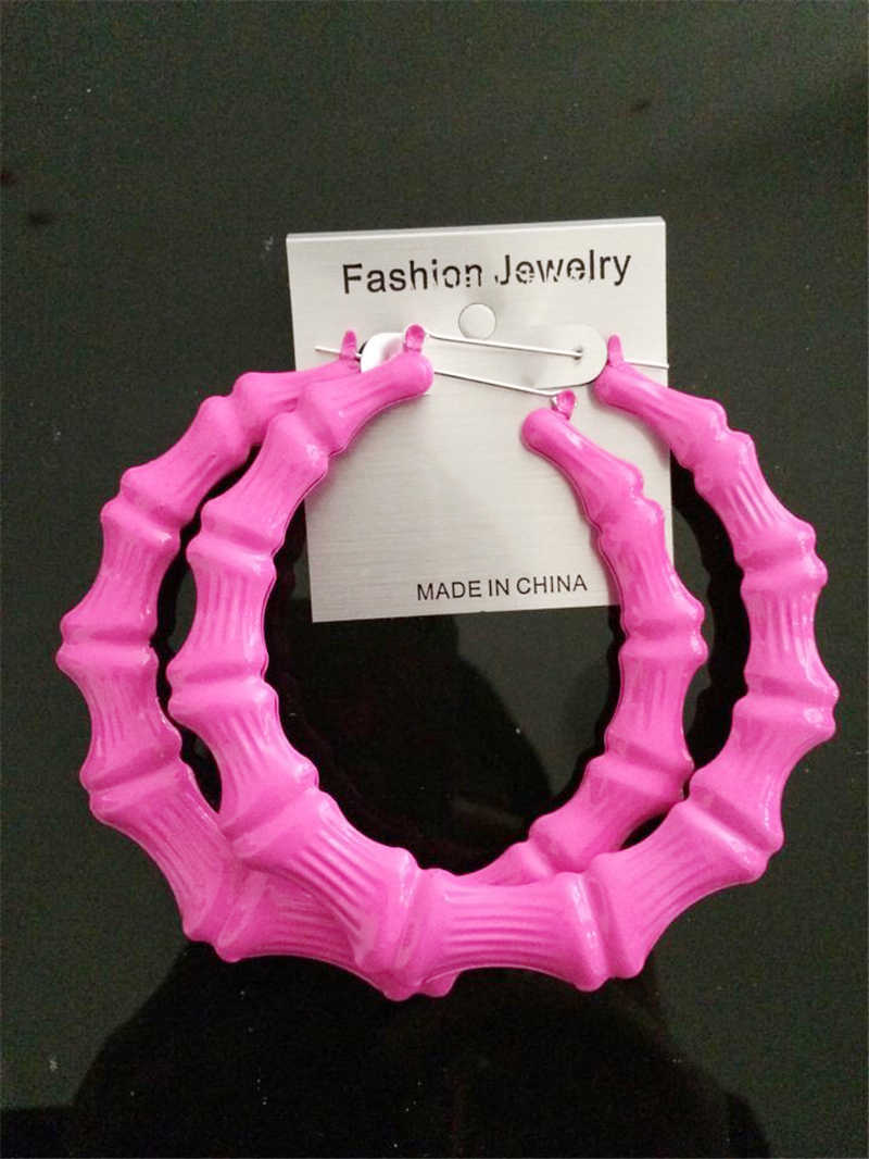 Fashion Jewelry Large color fluorescent bamboo earrings hip-hop hipster singer eardrop nightclubs exaggerated earrings
