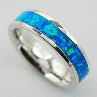 Blue Fire Opal White Topaz Women 925 Sterling Silver Ring A25 Size 6 7 8 9