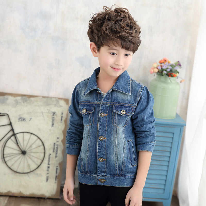 77a009e79 Teenager boys Denim Jackets Coats New 2018 Spring Autumn kids Children's  Outwear Clothing Jeans Jacket for boys 4-12 year old 49