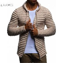 Laamei Autumn Winter Men Sweater Cardigan Slim Fashion Mens Casual Stripe Zip-up Hooded Warm Turtleneck Men's Sweater