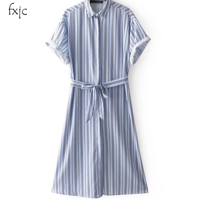 Women's Clothing Womens Dress Stripe Print Button Lapel Dress New Fashion Shirt Collar 2018 P10 Outstanding Features