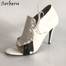 Sorbern Fashion Lace-Up Size 12 Shoes High Heel Stiletto Heel Pump Ladies  Shoes Red Bottom Open Toe Shoes Woman Unique Heels DIY 6e351a5baf3c