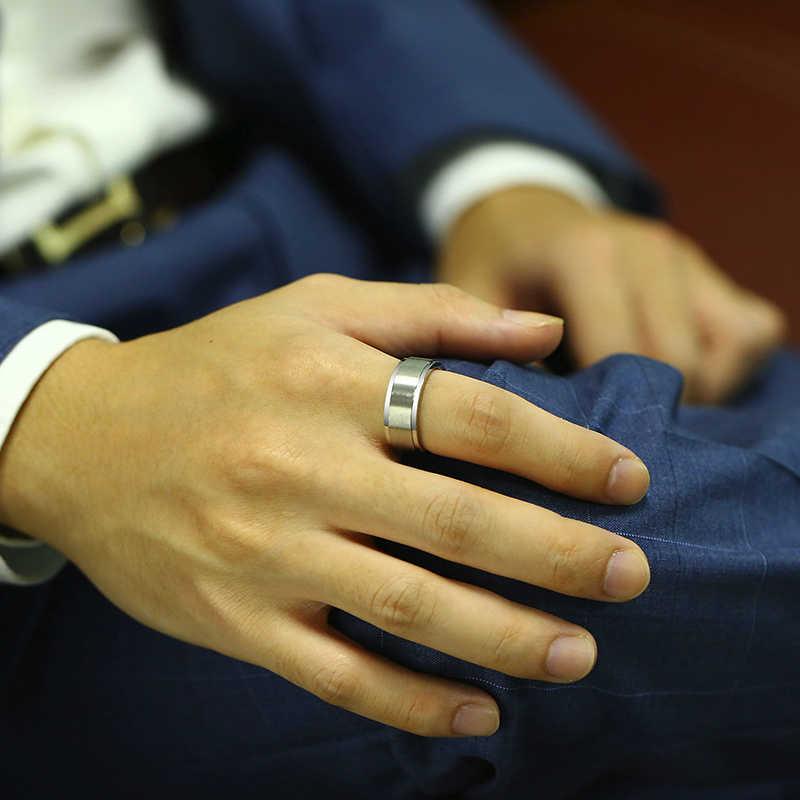 Vnox 8mm Rotatable בסיסי טבעת עבור גברים שחור נירוסטה מזדמן זכר אנל אופנתי פאנק ספינר ברית תכשיטים