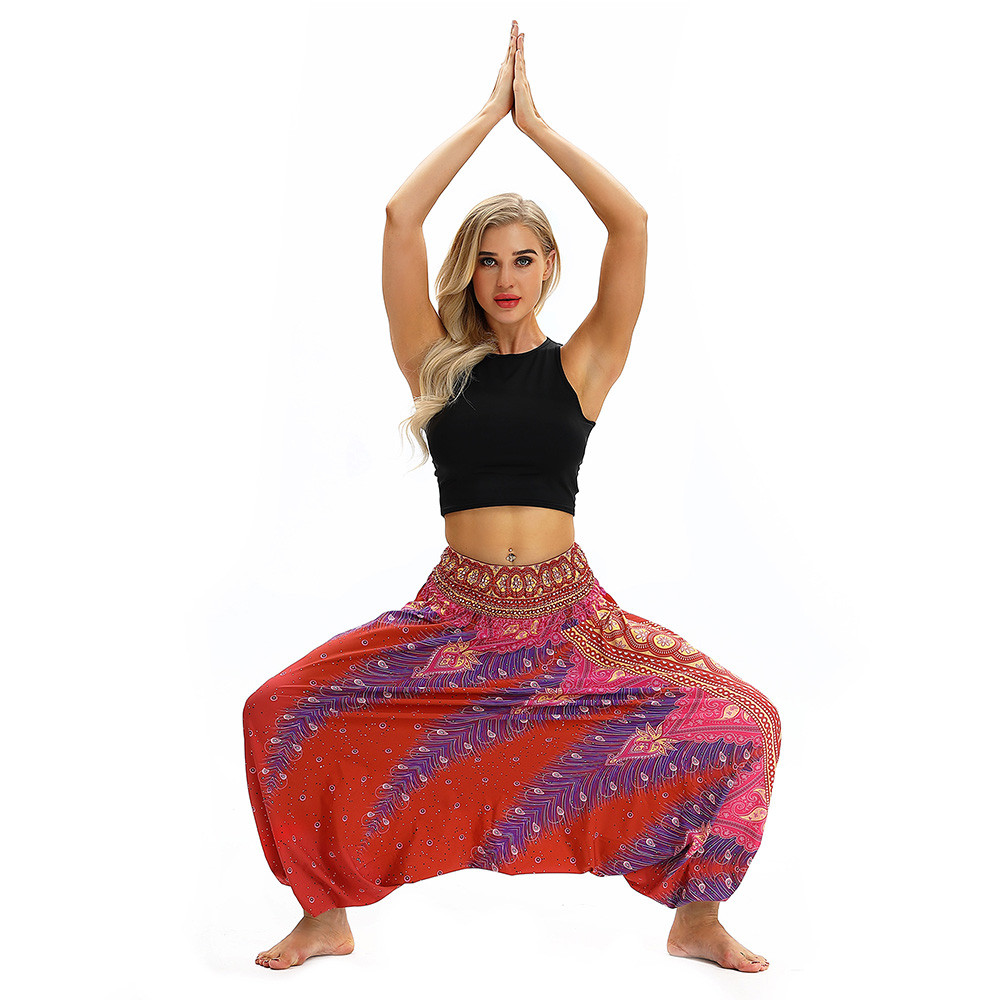 Women Men Pants Casual Woman High Waist Wide Leg Harem Trousers Baggy Boho Loose Aladdin Festival Hippy Jumpsuit Print Lady pant 83