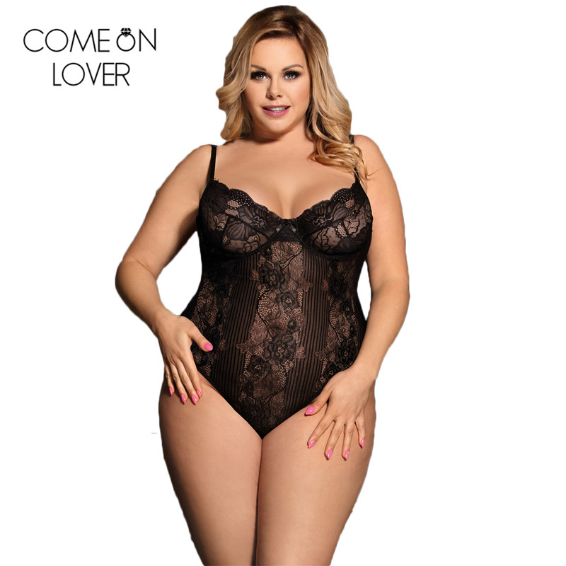 Floral Hollow Out Plus Size Women Rompers Bodysuit Womens Leotard See Through Combinaison Femme Short Lace Top Jumpsuit RE80536