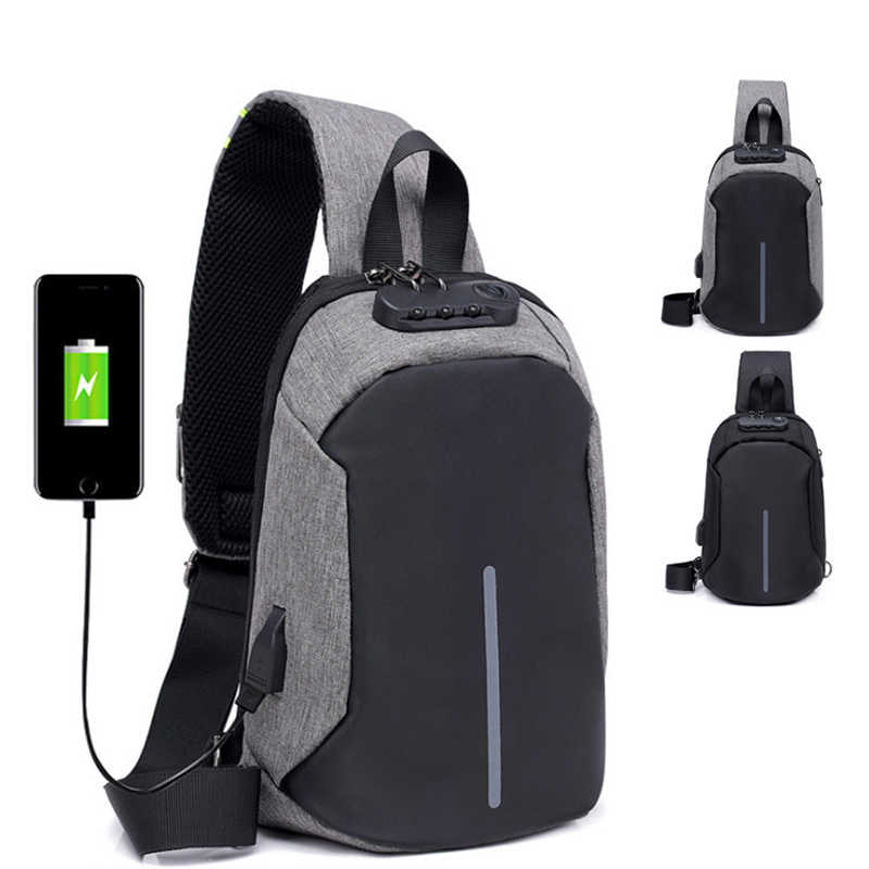 Anti-theft Lock Chest Bag Men Shoulder Bags USB Charging Crossbody Bags Summer Short Trip Travel Messengers Bag 2019 Bolsos Muje