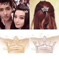 JINSE  New Brand Korean Girls Jewelry Hair Clip Crystal Hollow Princess Crown Hair Pin Hair Accessories Wedding Hair CR155