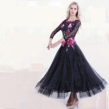 National Standard Dance Dress Adult National Standard Dancing Costume Women Organza Silk Print Modern Dance Skirt Dress