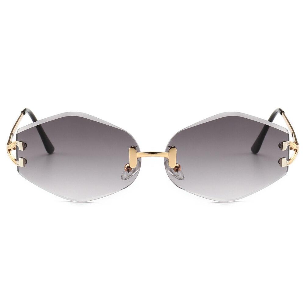 Coucou rouge losange lunettes de soleil sans monture femmes 2019 d été or  brun hexagone vintage lunettes de soleil pour hommes sans cadre uv400. 2a1aeb2f3523