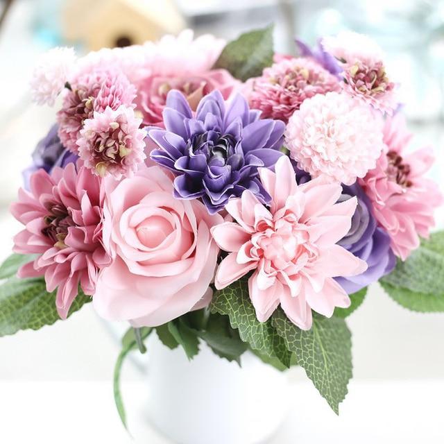 vivid silk rose dahlia artificial bouquet 1 bunch wedding flowers