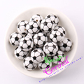 Free Shipping 20mm100pcs/lot Printing Soccer Football Sport On White Acrylic Beads For Kids Chunky Beads Jewelry # CDBD-601115
