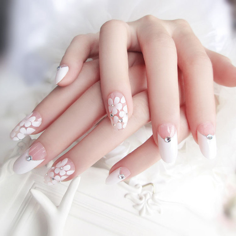 Beautiful flowers 24pcs French printing False nail with Diamonds ...