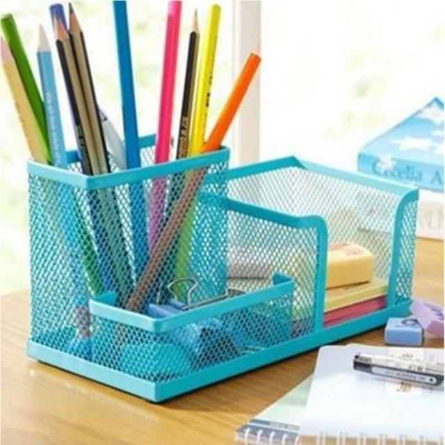 New Metal Desktop Storage Box Organiser Pen Card Office Stationery Holder Home House bathroom Desk Organizer