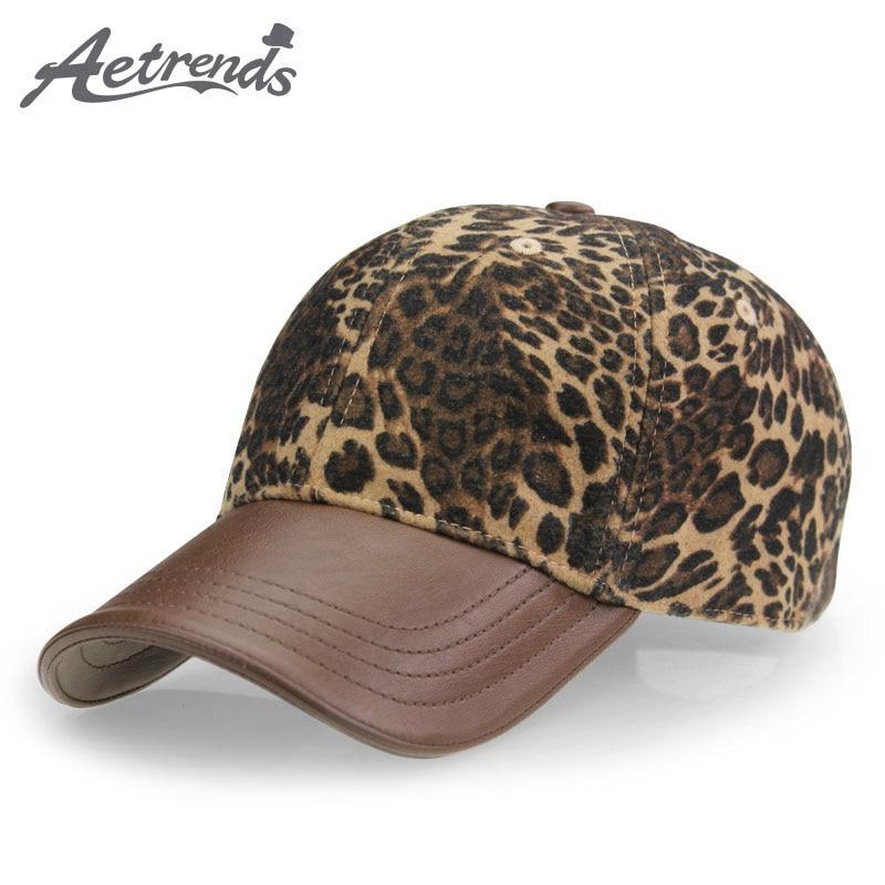 [AETRENDS] Sombreros de leopardo con PU de cuero Ponytail Gorra de béisbol Mujeres Sombrero hueso feminino 2018 Marca de lujo Gorras para mujeres Z-3892