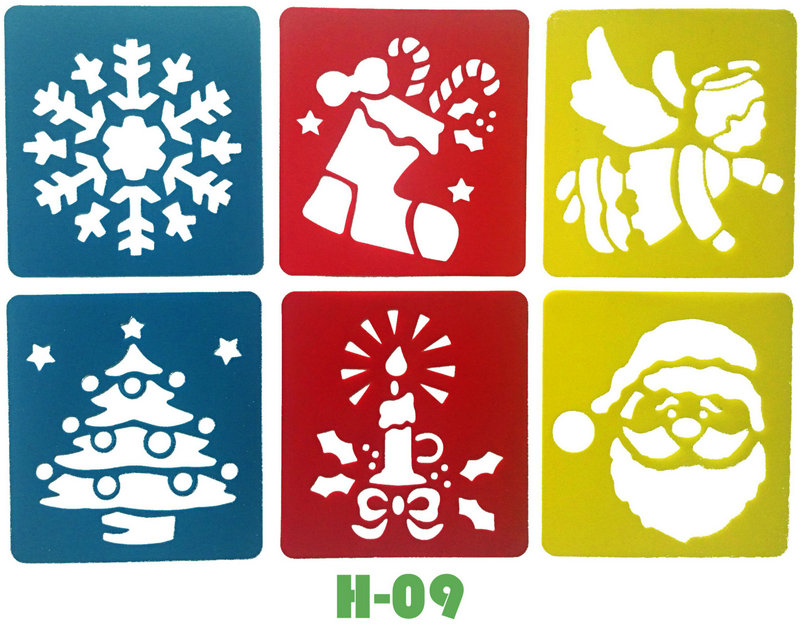 6PCS/LOT.Snowflake Santa Angel Xmas Template Stencil Kids Art Board Early Learning Educational Toy Party Favor 14x15cm 18 Design