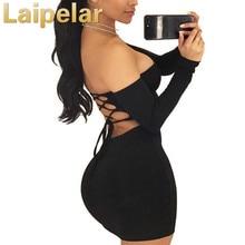 Sexy back lace up bandage dress off the shoulder backless mini women bodycon club dresses fashion vestidos black Laipelar