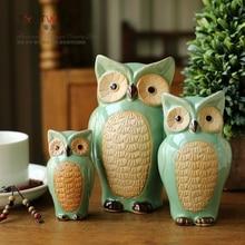 Green three coruja ceramica owl figurines home decor ceramic vintage ornament crafts room decoration porcelain animal figurine