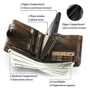 Image 3 - KAVIS Echtem Leder Brieftasche Männer Geldbörse Männlichen Cuzdan PORTFOLIO MANN Portomonee Kleine Mini Rfid Walet Tasche Mode Mann Vallet