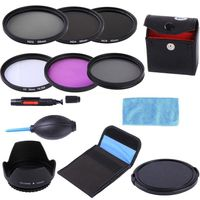 55mm 55 mm UV CPL FLD ND 2 4 8 ND Filter Kit + Lens Hood + Lens Cap +3 in 1 lens Cleaning kit + Filter case For DSLR Camera Lens